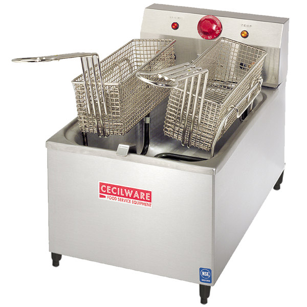 """Cecilware EL-170 Stainless Steel Commercial Countertop Electric Deep Fryer with 4"""" Legs and 15 lb. Fry Tank - 1800W"""