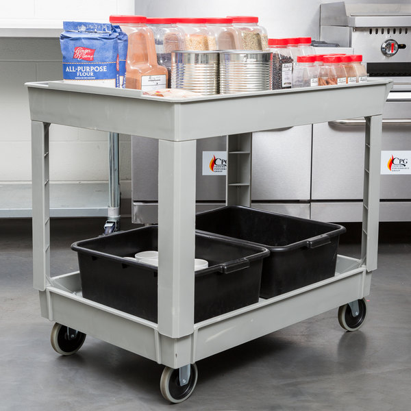 "Continental 5805GY 40"" x 25"" Gray Utility Cart with 2-Shelf Recessed Top"