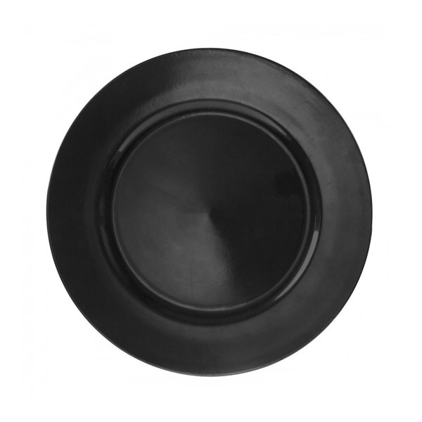 10 Strawberry Street LABLK-24 13 inch Lacquer Round Black Charger Plate