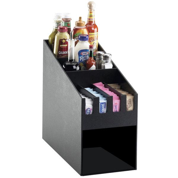 "Cal-Mil 2043 Classic Black Condiment Organizer with Napkin Dispenser Slot - 9"" x 19 1/4"" x 16 3/4"""