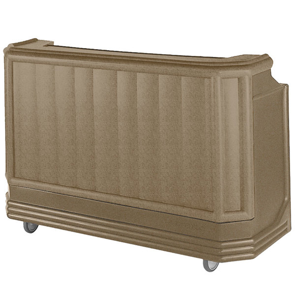 """Cambro BAR730PM194 Granite Sand Cambar 73"""" Post-Mix Portable Bar with 7 Bottle Speed Rail, Cold Plate, and Soda Gun"""