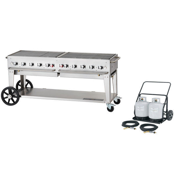 "Crown Verity MCC-72 72"" Mobile Outdoor Charbroiler Complete Set - 159,000 BTU"