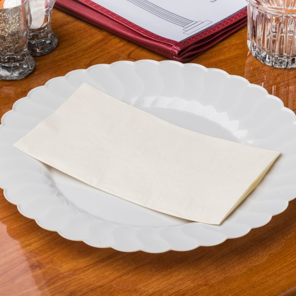 "Ecru / Ivory Paper Dinner Napkin, Choice 2-Ply, 15"" x 17"" - 125/Pack"