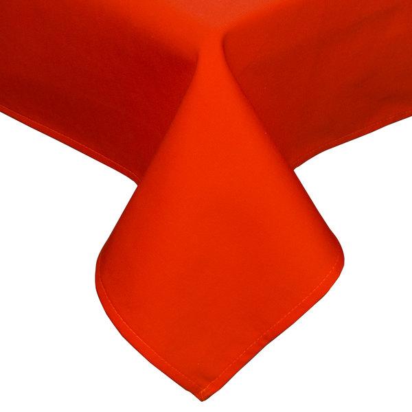 "90"" x 90"" Orange Hemmed Polyspun Cloth Table Cover"