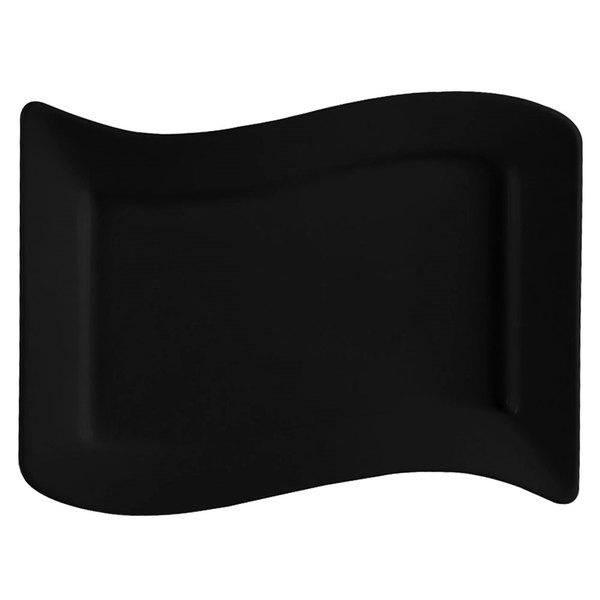 "CAC SOH-51BK Color Soho 15 1/2"" x 10 1/2"" Black Rectangular Stoneware Platter - 12/Case"