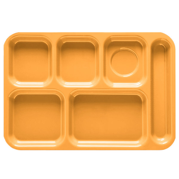 "GET TR-152 10"" x 14 1/2"" Tropical Yellow ABS Plastic Right Hand 6 Compartment Tray - 12/Pack"