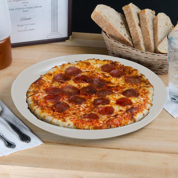 "Tuxton BWA-1315 DuraTux 13 1/8"" White China Pizza Serving Plate - 6/Case"