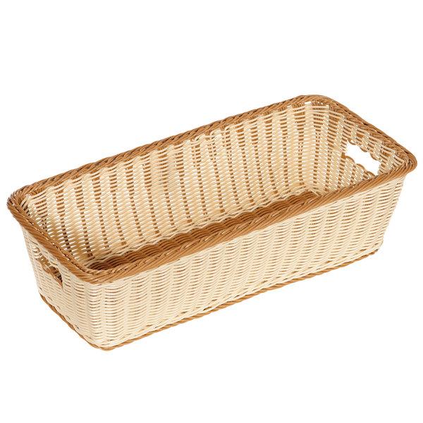 "GET WB-1519-TT Designer Polyweave 23"" x 11"" x 6 3/4"" Two-Tone Rectangular Plastic Basket - 6/Pack Main Image 1"