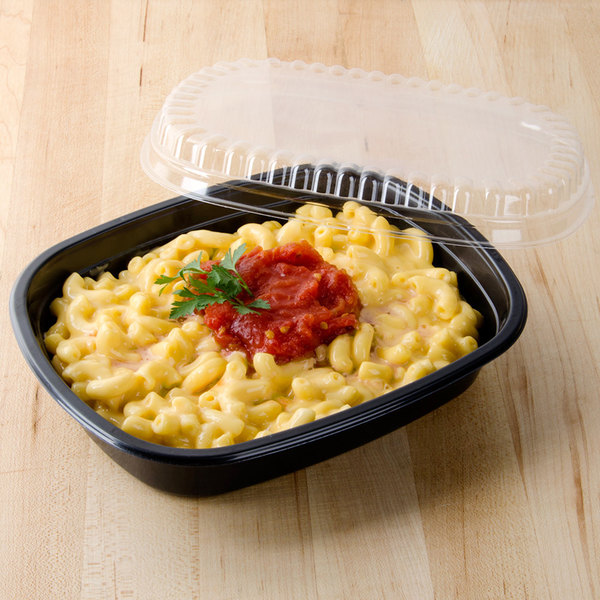 """Genpak 55026 31 oz. Black 8 7/16"""" x 6 5/8"""" x 1 5/8"""" Dual Ovenable 1-Compartment Food Pan with Lid - 10/Pack"""