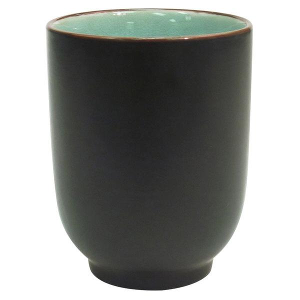 CAC 666-1-BLU Japanese Style 8 oz. China Cup - Black Non-Glare Glaze / Lake Water Blue - 36/Case