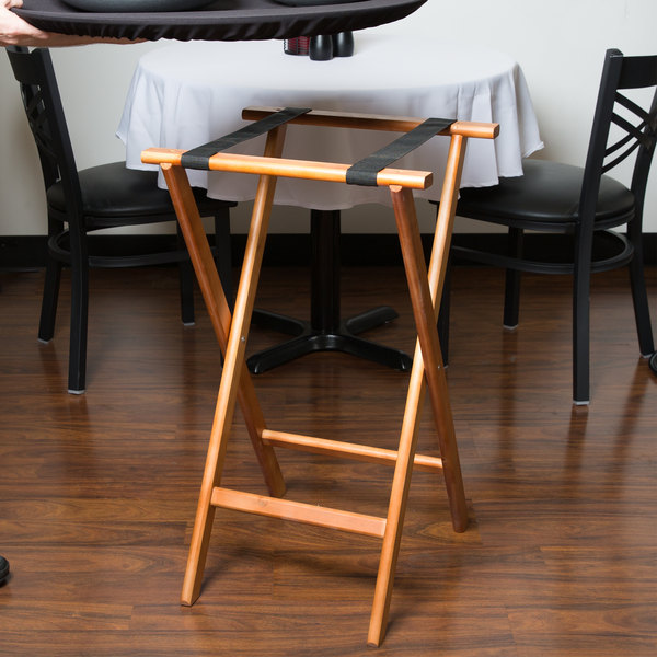 """Lancaster Table & Seating 17 3/4"""" x 15 3/4"""" x 32"""" Folding Wood Tray Stand Light Brown"""