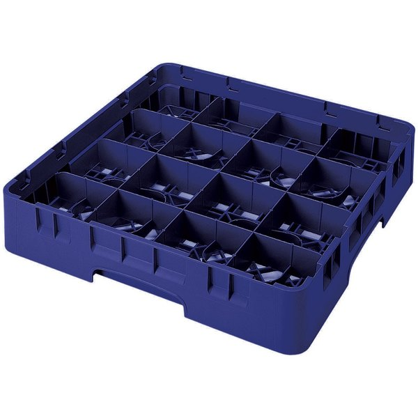 "Cambro 16S638186 Camrack 6 7/8"" High Customizable Navy Blue 16 Compartment Glass Rack"