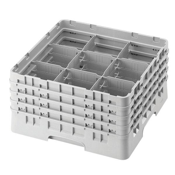 "Cambro 9S1114151 Soft Gray Camrack Customizable 9 Compartment 11 3/4"" Glass Rack"