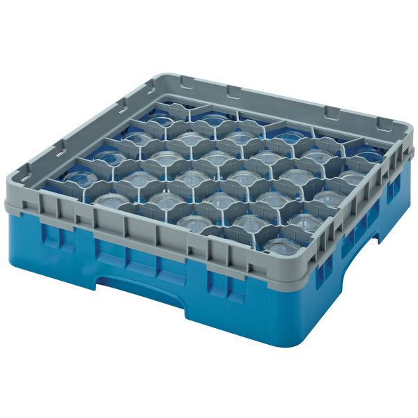 "Cambro 30S800414 Teal Camrack Customizable 30 Compartment 8 1/2"" Glass Rack"