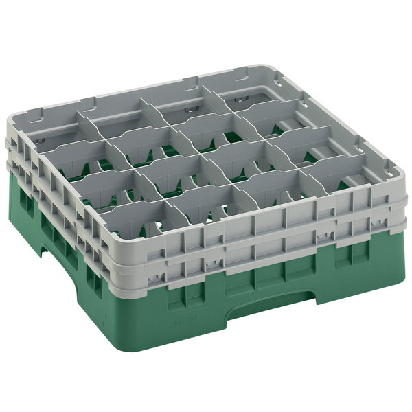 "Cambro 16S534119 Camrack 6 1/8"" High Customizable Sherwood Green 16 Compartment Glass Rack Main Image 1"