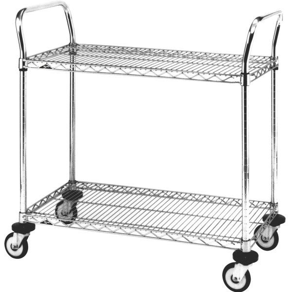 "Metro MW611 Super Erecta 24"" x 36"" x 39"" Two Shelf Standard Duty Chrome Utility Cart"
