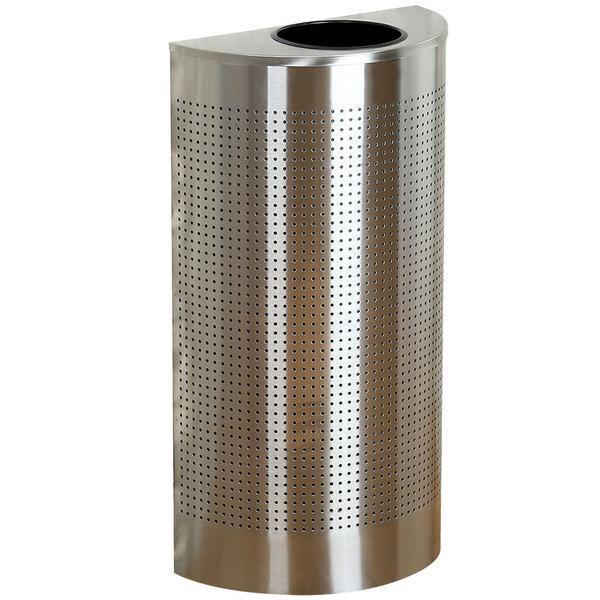 Rubbermaid FGSH12SSPL Silhouettes Stainless Steel Designer Half Round Waste Receptacle - 12 Gallon