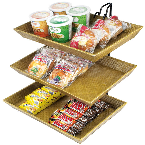 """Cal-Mil 1290-3 Iron Three Tier Wire Merchandiser with Bamboo Trays - 18"""" x 19"""" x 22"""""""