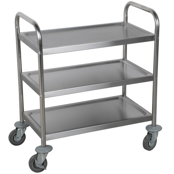 Choice 28 X 16 X 32 Knocked Down 18 Gauge Stainless Steel 3 Shelf Utility Cart