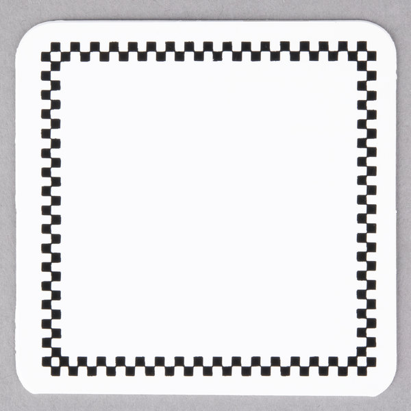 Square Write On Deli Tag with Black Checkered Border - 25/Pack Main Image 1