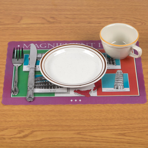 """10"""" x 14"""" """"Magnificent Italy"""" Colored Paper Placemat - 1000/Case"""