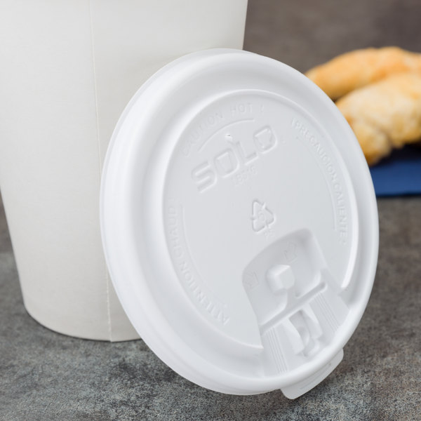 Dart Solo LB3161 12, 16 , and 20 oz. White Plastic Tab Lid - 1000/Case