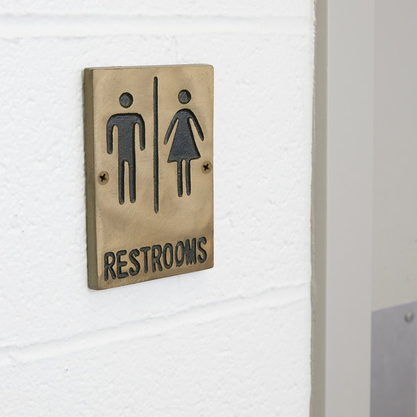 "Tablecraft 465633 Bronze Unisex Restrooms Sign 6"" x 4"""