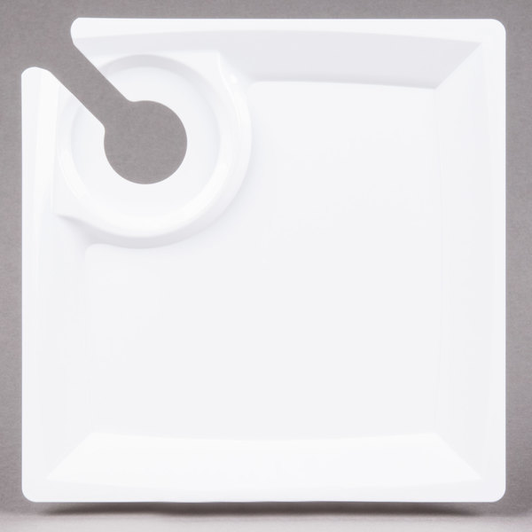 WNA Comet MSCTLW 8 inch White Square Milan Plastic Cocktail Plate with Cup Holder  - 120/Case
