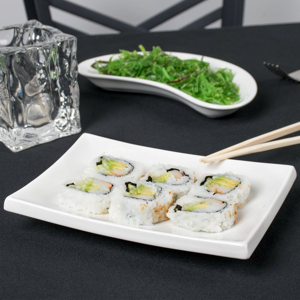 "CAC TOK-12 Tokyia 8"" x 5 1/2"" Bone White Rectangular Thick Porcelain Platter - 24/Case"