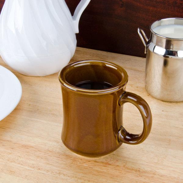 7 oz. Brown Princess Bell Shaped China Coffee Mug - 36/Case
