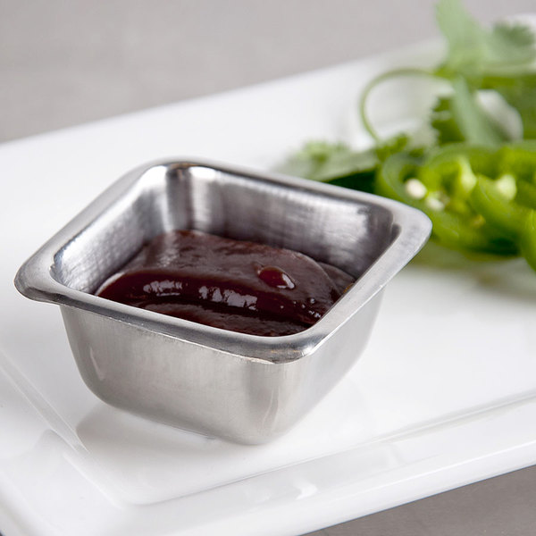 American Metalcraft SSC25 2.5 oz. Stainless Steel Square Sauce Cup Main Image 6