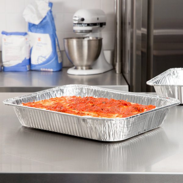 Choice 1/2 Size Foil Steam Table Pan Medium Depth - 20/Pack Main Image 3