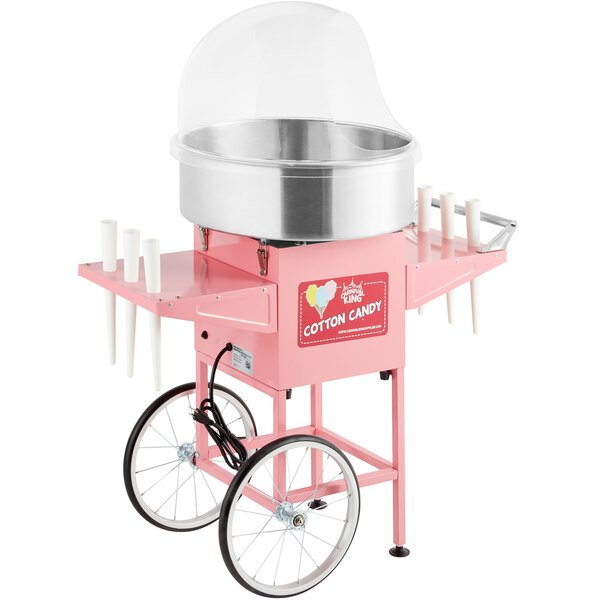 """Carnival King CCM21CT Cotton Candy Machine with 21"""" Stainless Steel Bowl, Floss Bubble, and Cart - 110V, 1050W Main Image 1"""