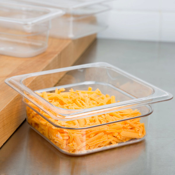 """1/6 Size Clear Polycarbonate Food Pan - 2 1/2"""" Deep"""