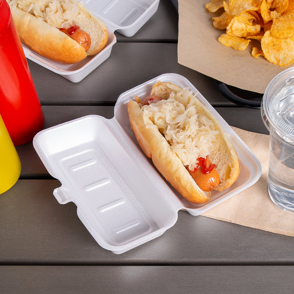 """Dart 72HT1 7"""" x 4"""" x 2"""" White Foam Hinged Lid Hot Dog Container - 125/Pack Main Image 3"""