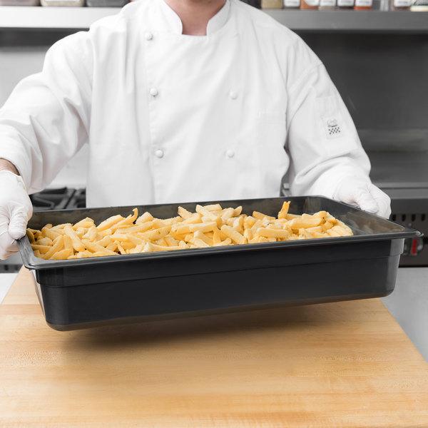 "Cambro 14HP110 H-Pan Full Size Black High Heat Food Pan - 4"" Deep"