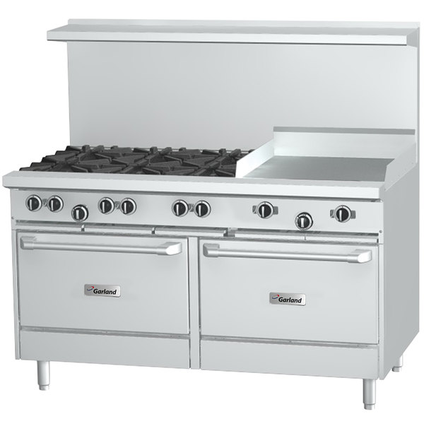 "Garland G60-6G24SS Liquid Propane 6 Burner 60"" Range with 24"" Griddle and 2 Storage Bases - 234,000 BTU"