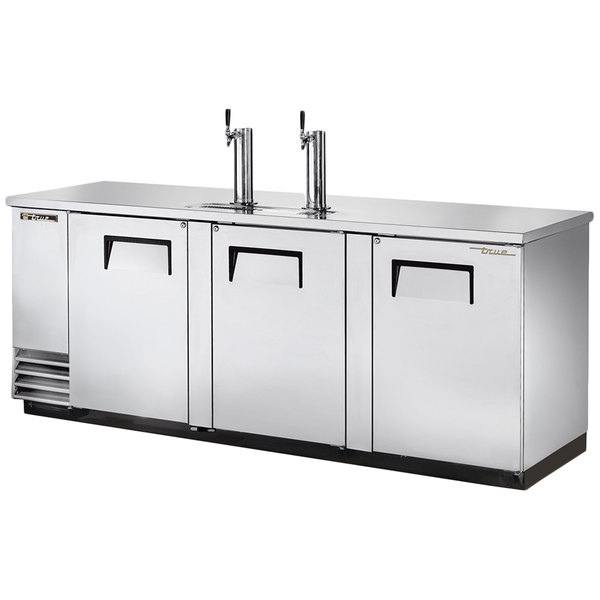 """True TDD-4-S 90"""" Stainless Steel Four Keg Direct Draw Kegerator Beer Dispenser with Two Taps"""