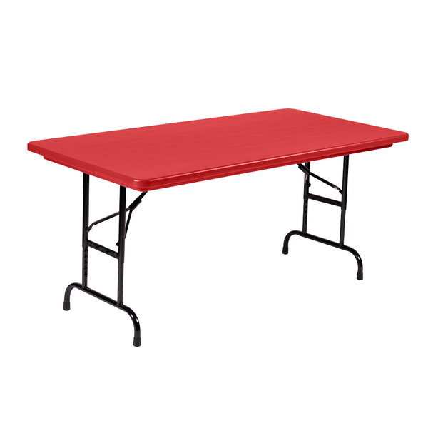 "Correll Adjustable Height Folding Table, 30"" x 60"" Plastic, Red - Standard Legs - R-Series RA3060"
