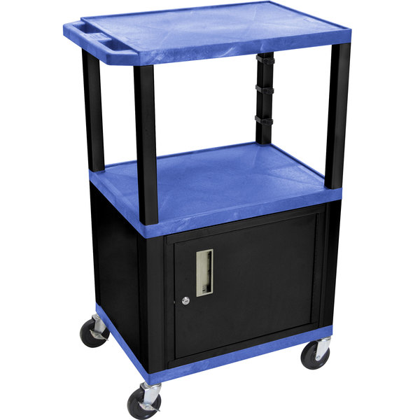 "Luxor WT2642BUC2E-B Blue Tuffy Two Shelf Adjustable Height A/V Cart with Locking Cabinet - 18"" x 24"""