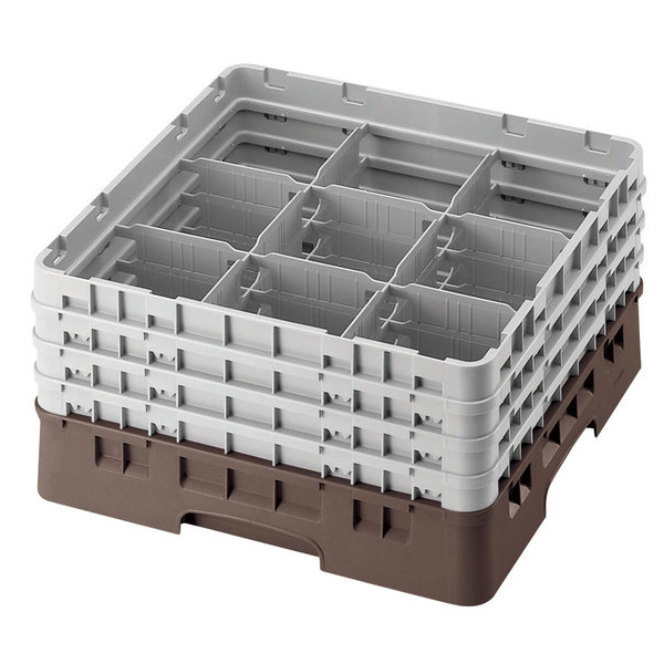 "Cambro 9S318167 Brown Camrack Customizable 9 Compartment 3 5/8"" Glass Rack"