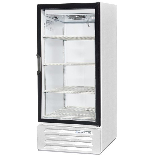 "Beverage-Air LV10HC-1-W 25"" Marketeer Series White Refrigerated Glass Door Merchandiser with LED Lighting Main Image 1"
