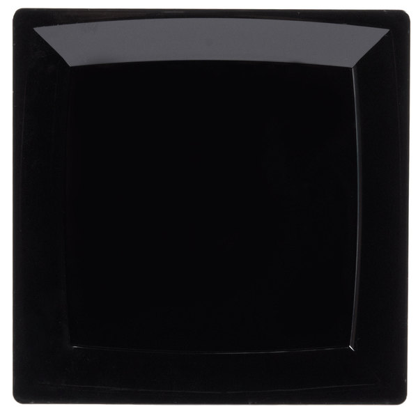 WNA Comet MS9BK 8 1/4 inch Square Black Milan Plastic Plate - 12/Pack