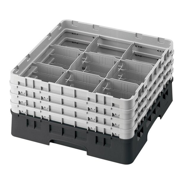 "Cambro 9S958110 Black Camrack Customizable 9 Compartment 10 1/8"" Glass Rack Main Image 1"
