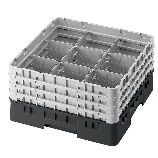 "Cambro 9S958110 Black Camrack Customizable 9 Compartment 10 1/8"" Glass Rack"