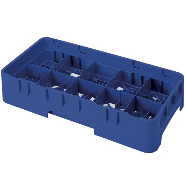 """Cambro 10HS1114186 Navy Blue Camrack 10 Compartment 11 3/4"""" Half Size Glass Rack"""