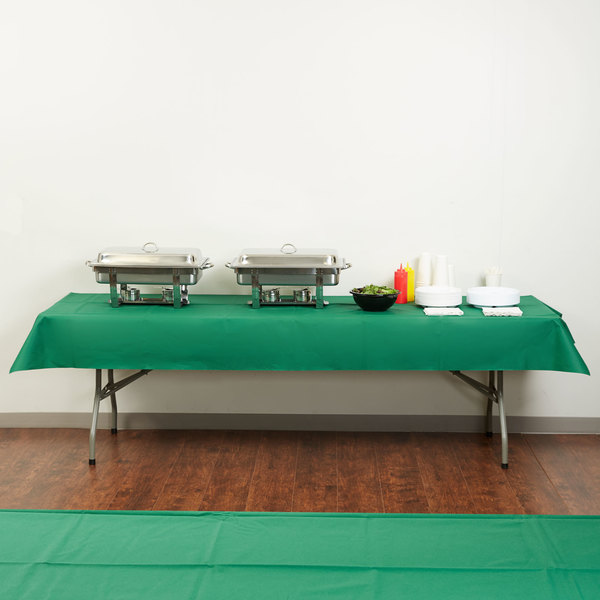 """Hoffmaster 220833 50"""" x 108"""" Linen-Like Hunter Green Table Cover - 20/Case Main Image 4"""