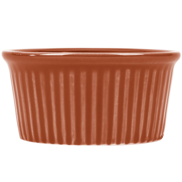 CAC RKF-3BWN Festiware 3 oz. Brown China Fluted Ramekin - 48/Case