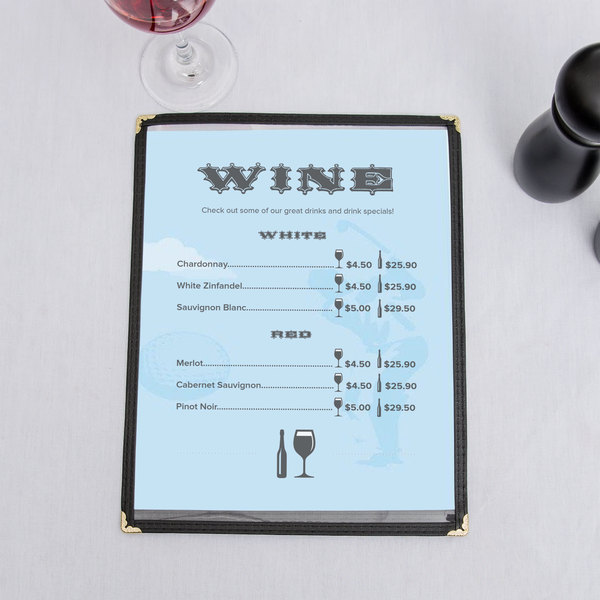 "8 1/2"" x 11"" Menu Paper - Country Club Themed Golf Silhouette Design - 100/Pack"