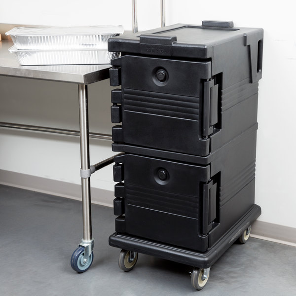 Cambro UPC600110 Ultra Camcarts® Black Insulated Food Pan Carrier - Holds 8 Pans Main Image 4
